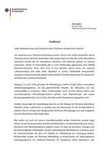 offizielle Grußbotschaft des Bundesgesundheitsministers Jens Spahn